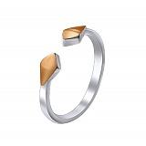 Серебряное кольцо на фалангу Лита с золотыми накладками