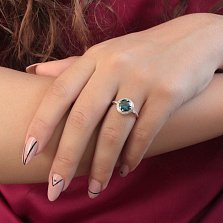 Золотое кольцо Небесная гладь с нано лондон топазом и дорожкой белых фианитов
