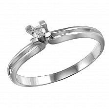 Кольцо из белого золота Принцесса с бриллиантом