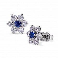 Серебряные серьги-пуссеты Римма с синей шпинелью и фианитами