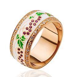 Обручальное кольцо Калина с рубинами, бриллиантами и эмалью