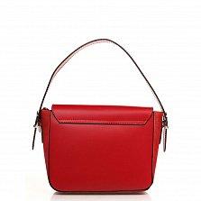 Кожаный клатч 6563 в красном цвете с короткой ручкой, ремнем на плечо и декоративной пряжкой