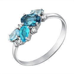 Серебряное кольцо Шейла с фантазийной шинкой, голубым кварцем и белыми фианитами
