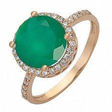 Золотое кольцо с агатом и фианитами Ирена