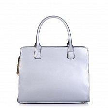 Кожаная деловая сумка Genuine Leather 8828 серебристого цвета на молнии, с металлическими ножками