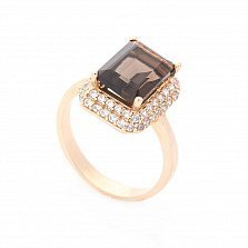 Золотое кольцо Лилиан в красном цвете с раухтопазом и белыми фианитами