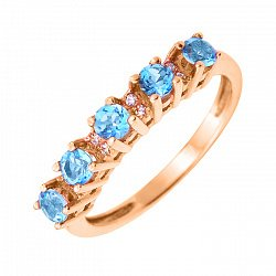Кольцо в красном золоте Цветана с голубыми топазами и фианитами