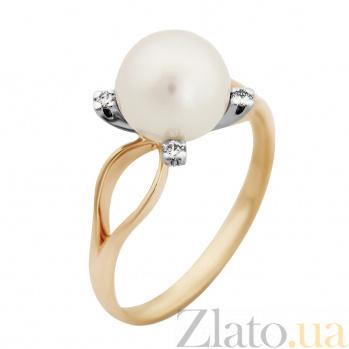 Золотое кольцо Мечта в комбинированном цвете с жемчужиной и бриллиантами VLA--11930
