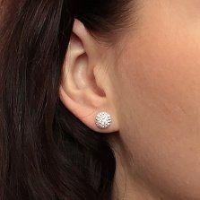 Серебряные пуссеты-кнопки Блеск с кристаллами Swarovski