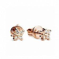 Серьги-пуссеты Маленькие мотыльки из красного золота с белыми фианитами