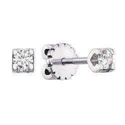 Серьги-пуссеты из белого золота с бриллиантами 000104146