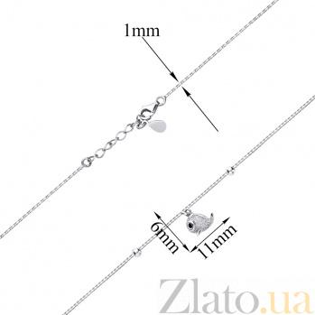 Серебряный браслет Чудо-Юдо с подвеской-рыбкой в фианитах и дополнительными звеньями 000088621