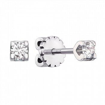 Сережки-пусети з білого золота із діамантами 000104146