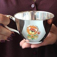 Серебряная чашка Львенок с эмалью, 250мл