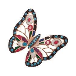 Серебряная брошка Бабочка с нанокристаллами и эмалью 000052646