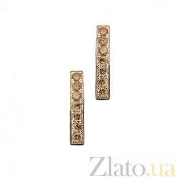 Золотые серьги с коньячными бриллиантами Утренняя роса 000029877