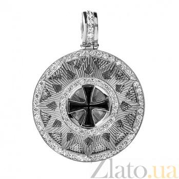Серебряный кулон Звезда Эрцгаммы с фианитами и эмалью HUF--10424-КБР