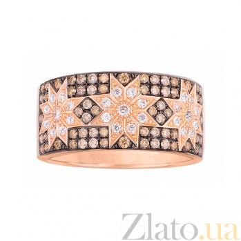 Золотое кольцо Звездная пыль с белыми и коньячными бриллиантами 000080865