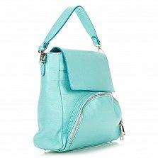 Кожаная сумка на каждый день Genuine Leather 8973 бирюзового цвета с накладным карманом на молнии