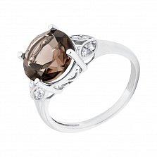 Серебряное кольцо Флорес с узорным кастом, дымчатым кварцем и фианитами