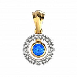 Золотой кулон Елизавета в комбинированном цвете с сапфиром и бриллиантами