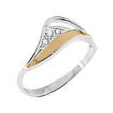 Серебряное кольцо с золотой вставкой и цирконием Лиана