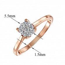 Помолвочное кольцо Айсель из комбинированного золота с цветком из бриллиантов в четырех крапанах