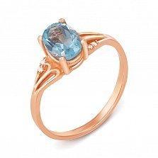 Кольцо из красного золота с топазом и фианитами 000134268