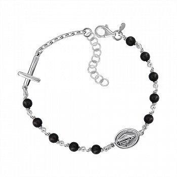 Срібний браслет з оніксом 000146365