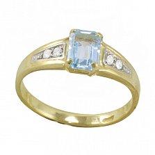 Золотое кольцо Тереза с голубым топазом и фианитами