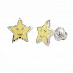 Детские серебряные серьги-пуссеты Звёздочка с желтой эмалью, 9х9мм