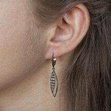 Серебряные серьги-подвески Листея с насечкой и чернением