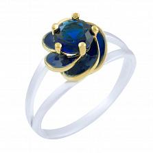 Кольцо из серебра и бронзы Лайма с сапфиром и эмалью