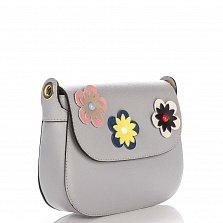 Кожаный клатч Genuine Leather 7801 серого цвета с декоративными цветами на клапане