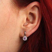 Серебряные серьги Мальвинка с фиолетовыми и белыми фианитами