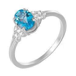 Кольцо из белого золота с голубым топазом и фианитами 000131306