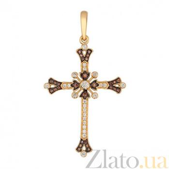 Золотой крестик Кармен в комбинированном цвете с коньячными и белыми фианитами VLT--Т3422