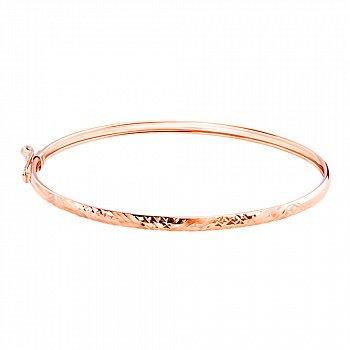 Литой браслет из красного золота с насечками  000117425
