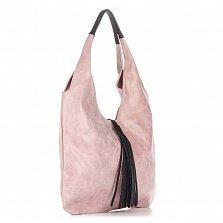 Кожаная сумка на каждый день Genuine Leather 7744 розового цвета с черной декоративной кисточкой