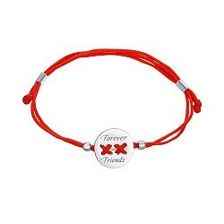 Браслет из серебра и красной шелковой нити Forever Friends 000145394