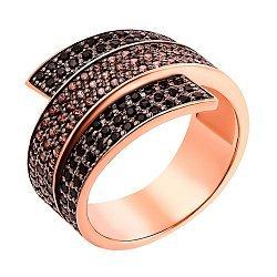 Золотое кольцо в красном цвете Завитая лента с черными и коньячными фианитами