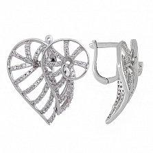 Серьги из серебра с фианитами Танец страсти