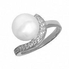 Серебряное кольцо Дар океана с белой жемчужиной и фианитами