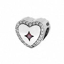 Серебряный шарм Сердечный с кристаллами циркония