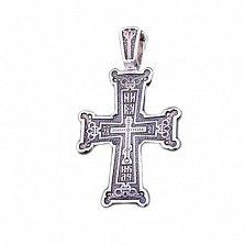 Серебряный крест с чернением НИКА