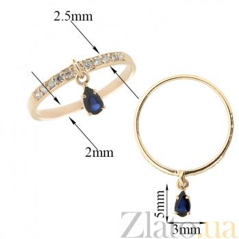 Золотое кольцо в красном цвете с бриллиантами и сапфиром Event ZMX--RDS-6904_K