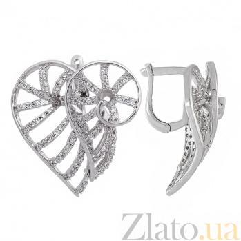 Серьги из серебра с фианитами Танец страсти 10030059