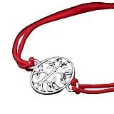 Шелковый браслет Дерево с серебряной вставкой