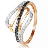 Золотое кольцо Жизель с черными и белыми фианитами