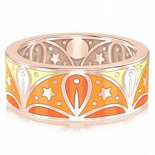 Обручальное кольцо из розового золота с эмалью Талисман: Добра